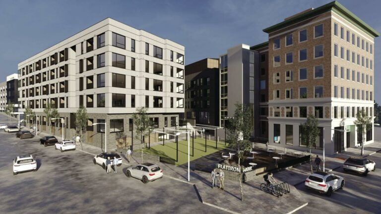 Illustration of upcoming development in the Flatiron District in Omaha, Nebraska. This includes two high-end apartment buildings.